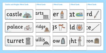 Castles and Knights Word Cards - Knights, Castles, Word cards, Weddings, Word Card, flashcard, flashcards, Castles and Knights, maiden, castle, tower, dragon, sword, horse, flag, shield, dungeon
