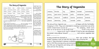 Vegemite Cloze Activity Sheet - cloze activity, cloze, reading comprehension, comprehension, vegemite, australia, australian food,wo
