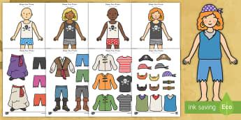 Dress Your Pirate Activity US English/Spanish (Latin) - pirates, game, dressing, dress-up, dress up, clothes, español, eal