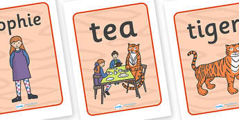 The Tiger Who Came to Tea Display Posters - tiger, tea, the tiger who came to tea, book resources, poster, sign, display, banner, play, Judith Kerr, girl, story book