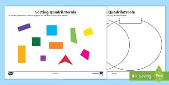 Sorting Quadrilaterals Activity Sheet - sorting, sort, venn diagram, quadrilaterals, activity, maths, shapes