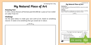 My Natural Piece of Art Activity Sheet - Amazing Fact Of The Day, activity sheets, powerpoint, starter, Worksheet, morning activity, nature,