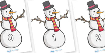 Numbers 0-100 on Snowmen - 0-100, foundation stage numeracy, Number recognition, Number flashcards, counting, number frieze, Display numbers, number posters