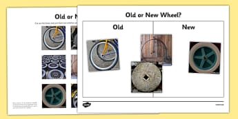 Sorting Old and New Wheels Activity - inventions, pneumatic tyre, John Boyd Dunlop, materials, wheel, old, new, sort