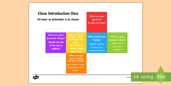 Class Introduction Questions Dice Nets -  English/French  - Class Introduction Questions Dice Net - class introduction, questions dice, introduction, questions,