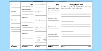 The Eightfold Path Differentiated Activity Sheet Pack, worksheet