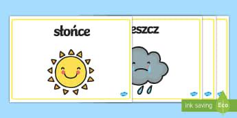 Plakaty ze słownictwem Pogoda - pogoda, słońce, deszcz, burza, tęcza, chmura, chmury, plakaty, plakat, plansze, zjawiska, artmosf