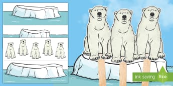 Climate Change Polar Bear and Icebergs Stick Puppets - Earth Day, climate change, icebergs, polar bears, environment, Canada, arctic, social studies, prima