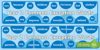 Year 2 Common Exception Words Display Banner - spelling, tricky words, reading, display, misconception, CEW, vocabulary, words,