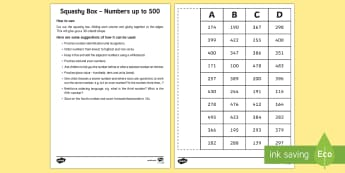 Squashy Box - Numbers to 500  - Mental Maths Warm Up + Revision - Northern Ireland, squashy boxes, 500, numbers to five hundred, odd