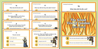 The Great Fire of London Quiz Cards