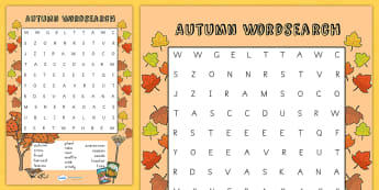Autumn Wordsearch - word search, word games, games, seasons