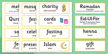 Eid Topic Words Polish Translation - polish, eid, topic, word cards, words