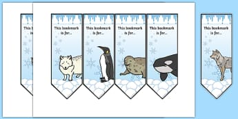 Polar Animals Bookmarks - polar, animals, bookmarks, reading