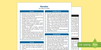 Ramadan Fact Sheet for Adults - EYFS, Early Years, KS1, Understanding the World, exploration, discovery, finding out, facts, information, Islam, religion, festival, celebration, Muslim, Ramadan