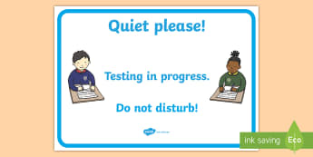 Testing in Progress Display Poster - Display, testing in progress, do not disturb, assessment, door sign, tests, quiet please,Irish