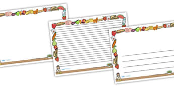 Healthy Eating Full Page Borders (Landscape) - page border, border, frame, writing frame, writing template, healthy eating, healthy eating page borders, healthy eating writing frames, eating healthy, eating healthy page borders, writing aid, writing,