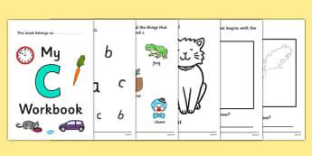 My Workbook c lowercase - workbook, c sound, lowercase, letters, alphabet, activity, handwriting, writing
