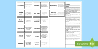 AQA Using Resources Loop Cards - potable water, sustainability, desalination, phytomining, bioleaching, aqa, gcse, exam preparation,