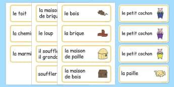 Cartes de vocabulaire : Les Trois Petits Cochons - cycle 1, cycle 2, lecture, histoire, compréhension écrite, français, Les Trois Petits Cochons, conte, cartes, vocabulaire, mots clés, mots