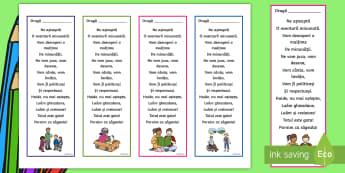 Poezie pentru început de an școlar Semne de carte editabile - inceput de scoala, inceput de an scolar, clasa pregătitoare, poezie, mesaj, semn de carte, editabil
