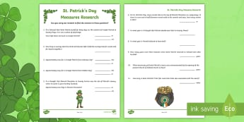 NI St. Patrick's Day Measures Research Activity Sheet - NI, St. Patrick's Day,  KS2, measures, Croagh Patrick, Slemish Mountain, Saul, St. Patrick's Trail