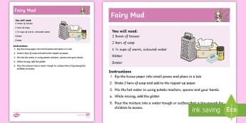 Fairy Mud Recipe - Fairy, sensory, exploration, messy, art