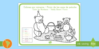 Teddy Bears' Picnic Color By Numbers Spanish (Latin)/US English - Teddy Bears' Picnic Color By Numbers - teddy, color, game, count, numbes, colourby numbers, coloyur