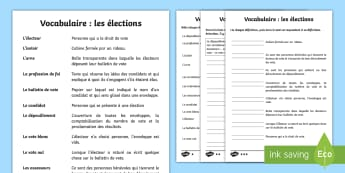 Fiche de vocabulaire : les élections - élection, elections, vocabulaire, vocabulary, cycle 3, KS2, CE2, CM1, CM2, candidat, candidates, vo