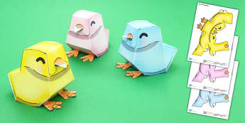 Easter Chick Paper Model - easter, chick, paper, model, craft