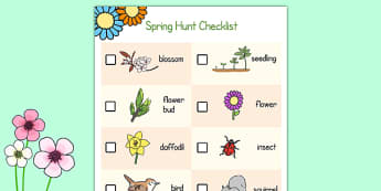Spring Hunt Checklist - spring, seasons, easter, hunt, easter hunt, objects hunt, can you see?, spring sensory walk checklist, walk checklist, spring walk checklist, spring hunt, spring search