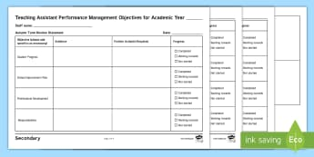 Teaching Assistant Performance Management Editable Proforma  - TA, teaching Assistant, proforma, Performance Management, LSA, Leaning Support Assistant
