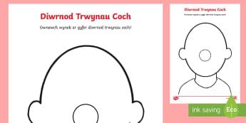 Taflenni Gweithgaredd Wynebau Gwag Diwrnod Trwynau Coch - trwyn, trwynau coch, diwrnod trwynau coch, comic relief cymraeg, red nose day welsh,Welsh