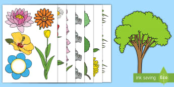 Garden-Themed Display Cut-Outs  Display Cut-Outs - Gardens, Display, flowers, plants, plants and growth, outside, minibeasts, trees, leaves.