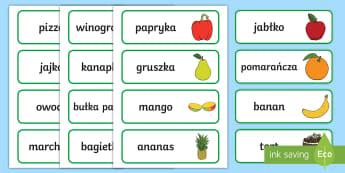 Karty ze słownictwem Jedzenie - jedzenie, owoce, warzywa, zdrowie, zdrowe, odżywianie, jeść, mięso, ryby, węglowodany, cukry, t