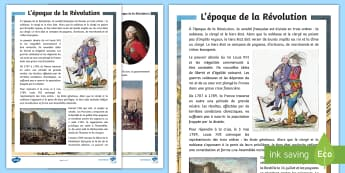 Fiche d'information : L'époque de la Révolution - La Révolution, cycle 2,  KS2,The French Revolution, Bastille Day, Bastille, Prise de la Bastille, 1