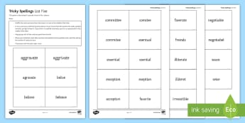 Tricky Spellings List Five Card Game - spelling, KS3 spelling, tricky spelling, KS4 spelling, spelling game, secondary spelling