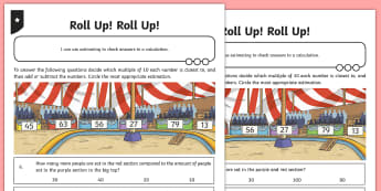Estimation Adding and Subtracting Two-Digit Numbers Activity Sheet - guess how many, estimate, roughly, close to, about the same as, just over, just under, exact, exactl
