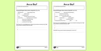 Are or Our? Differentiated Activity Sheet Pack - are, our, homophones, commonly-confused keywords, worksheet