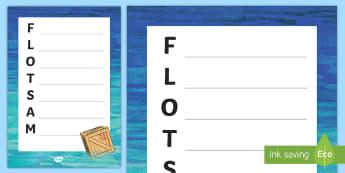 Flotsam Acrostic Poem - jetsam, seaside, beach, debris, poetry,