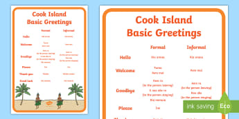 Cook Islands Language Basic Salutations A4 Display Poster Te Reo Māori/English - Cook Islands, Cook Islands Language Week, Language Week, Salutations, Languages, Pacific, Pasifika