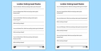 London Underground Routes Writing Frames - London, captial, underground, map, routes, writing frames, frames, writing, England, tourism, tourist, information, Big Ben, Parliament, Tower Bridge, sight seeing