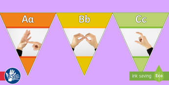 Multicoloured British Sign Language (BSL) Photo Alphabet (Signer's View) Display Bunting - deaf display, sign language display, sign language bunting, bsl photos, british sign language photos