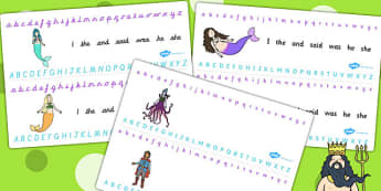 The Little Mermaid Alphabet Strips - story books, visual aid, a-z