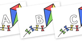 A-Z Alphabet on Kites - A-Z, A4, display, Alphabet frieze, Display letters, Letter posters, A-Z letters, Alphabet flashcards