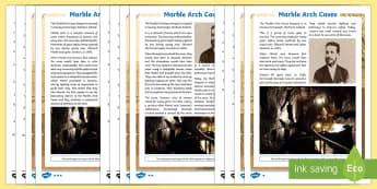 Marble Arch Caves Differentiated Reading Comprehension Activity -  Marble Arch Caves, fermanagh, northern ireland, limestone, famous sites in northern ireland.