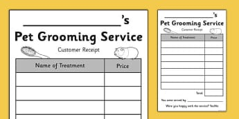 Pet Groomers Role Play Customer Receipts - pet groomer, role-play