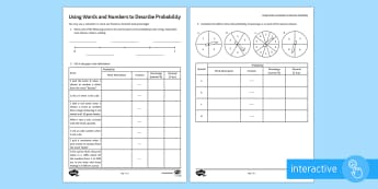 Introduction to Probability Go Respond  Activity Sheets -  -  Go Respond, Probability, Likelihood, Chance, Even Chance, Certain, Unlikely, Likely, Impossible