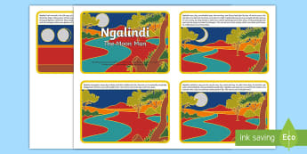 Ngalindi The Moon Man Story Cards - dreamtime, aboriginal, indigenous, moon, just so stories, folktales, australia