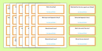 Common Core Second Grade Reading Literature Question Stem Cards USA - American, comprehension, prompts, story, non-fiction, English